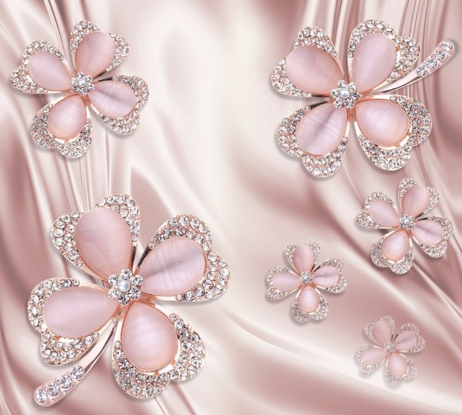 """Фотошторы """"Клевер с бриллиантами в нежно-розовых тонах"""""""