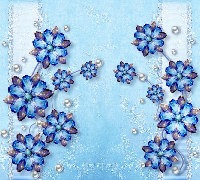 """Фотошторы """"Драгоценные цветы на голубом фоне"""""""