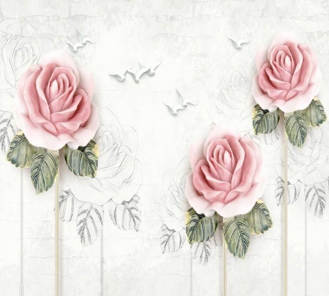 Фотошторы «Оттиск с розами» вид 1