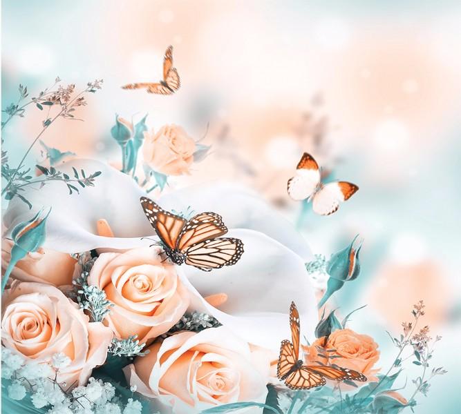 Фотошторы «Бабочки над розами» вид 1