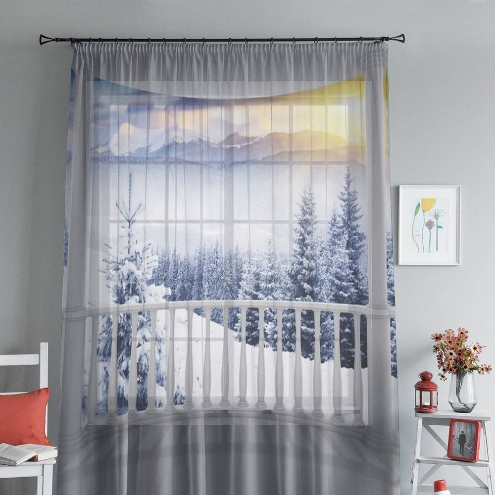 """3D тюль """"Вид с балкона на зимний лес"""" вид 4"""