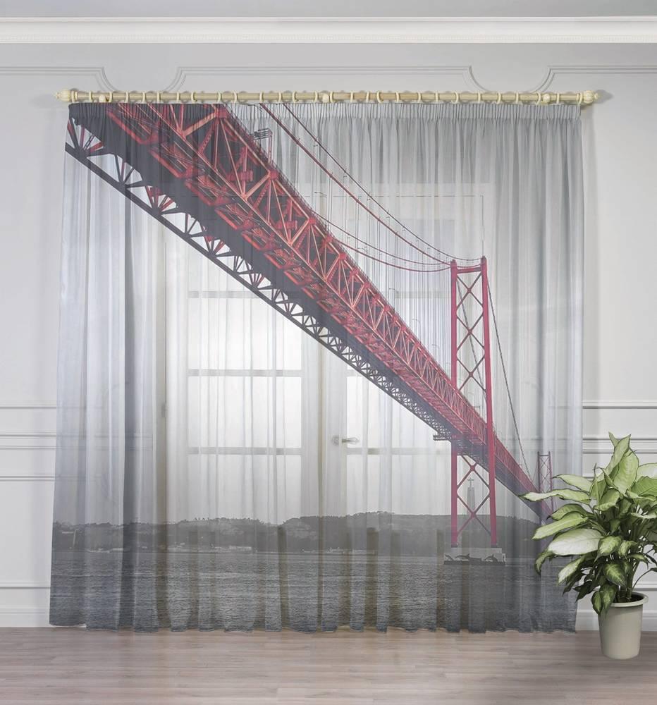 """3D Тюль на окна """"Мост в Нью-Йорке"""" вид 3"""