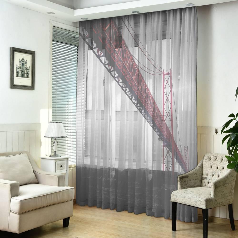 """3D Тюль на окна """"Мост в Нью-Йорке"""" вид 5"""