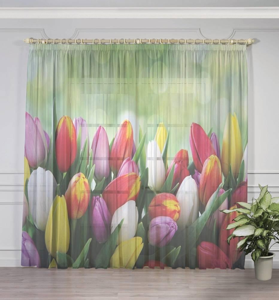 """3D тюль """"Разноцветные тюльпаны"""" вид 3"""