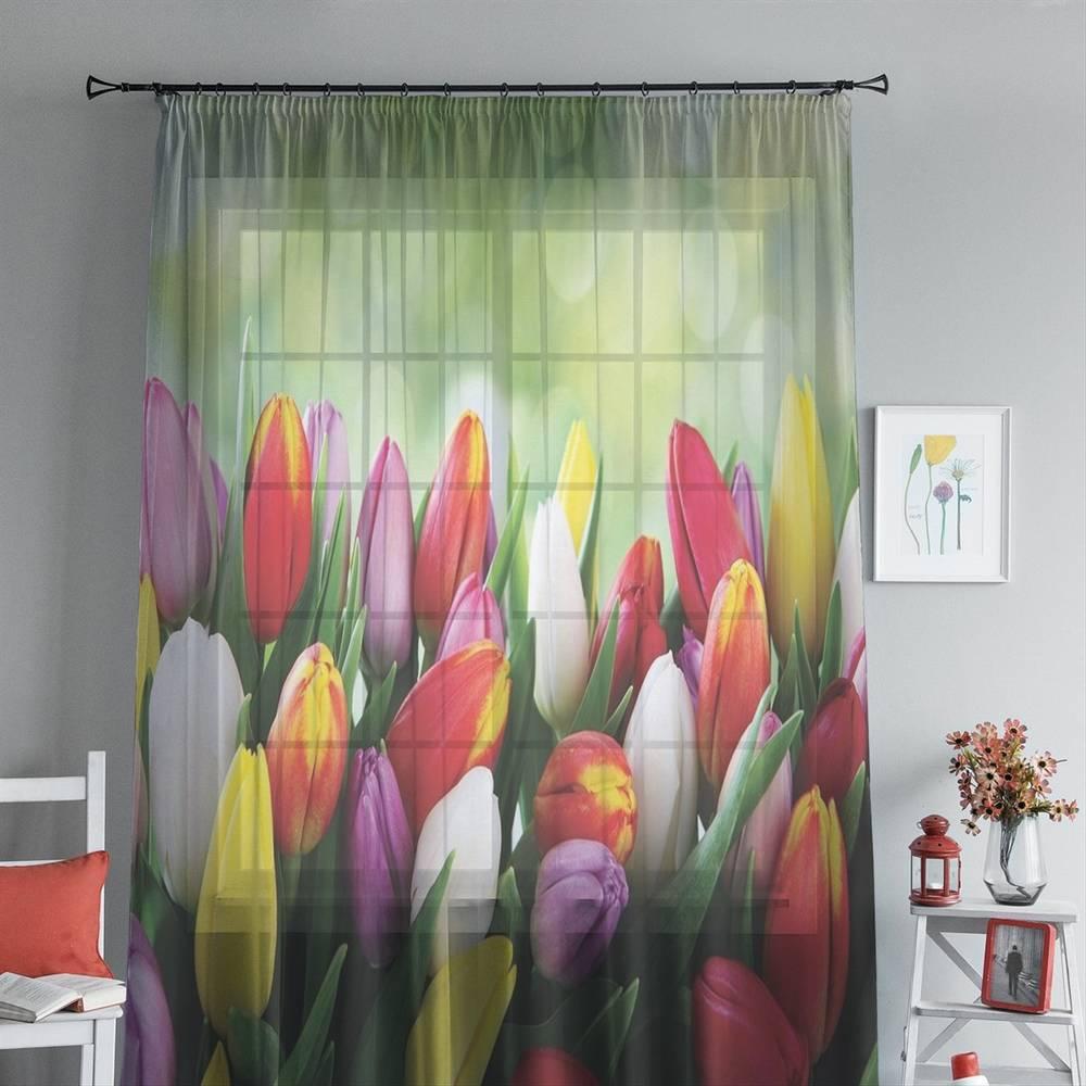 """3D тюль """"Разноцветные тюльпаны"""" вид 4"""