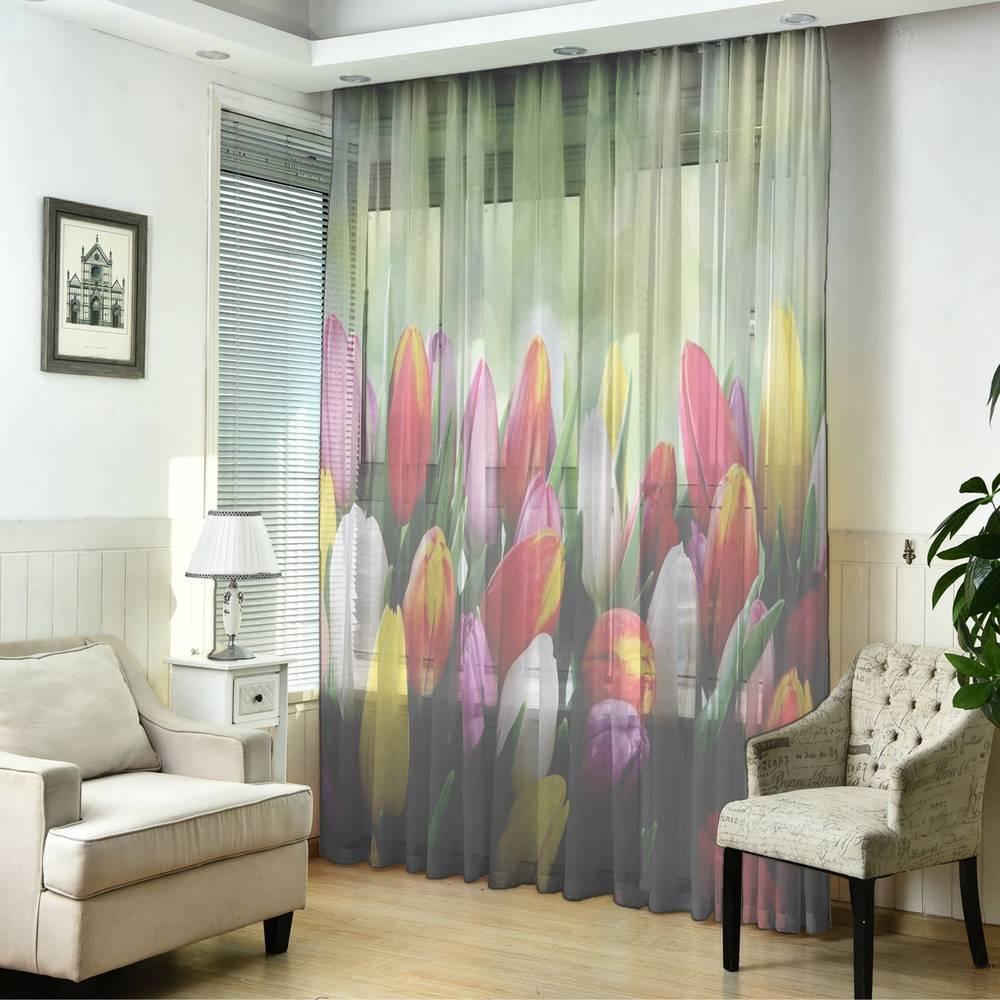 """3D тюль """"Разноцветные тюльпаны"""" вид 5"""
