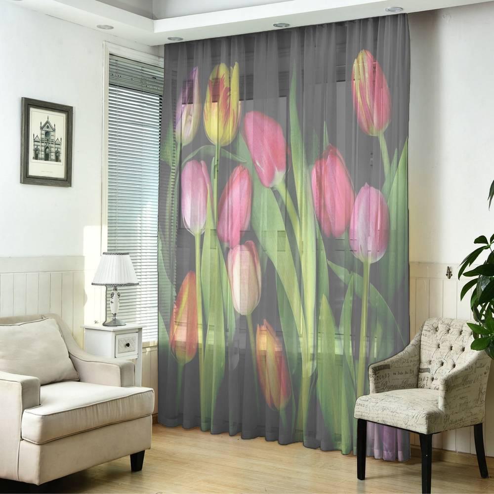 """3D Тюль """"Тюльпаны на темном фоне"""" вид 5"""