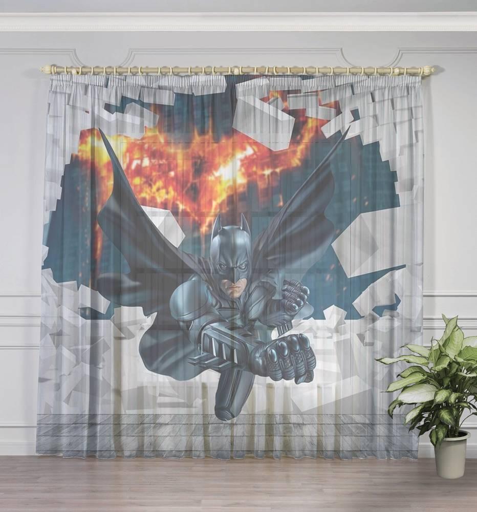"Оконный 3D тюль ""Бэтмен"" вид 3"