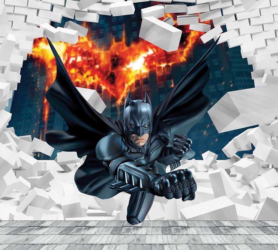 "Оконный 3D тюль ""Бэтмен"" вид 2"