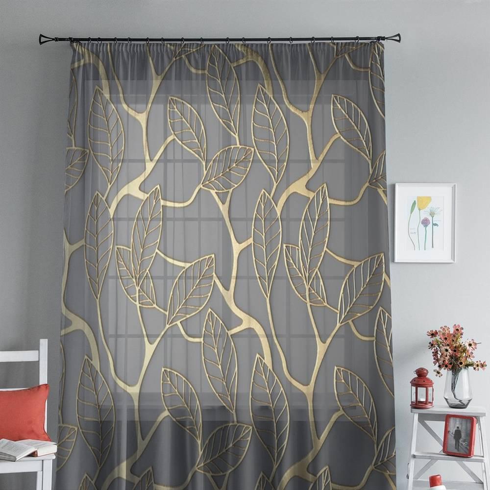 """Оконный 3D тюль """"Узор с золотыми листьями"""" вид 4"""
