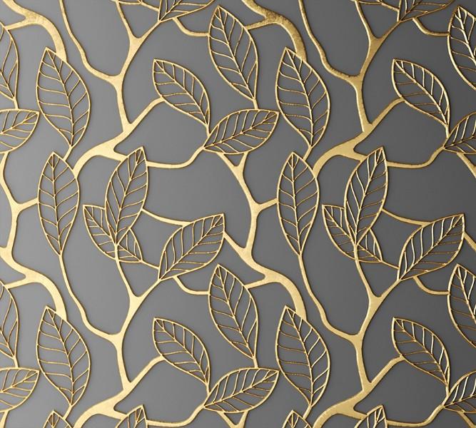 """Оконный 3D тюль """"Узор с золотыми листьями"""" вид 2"""