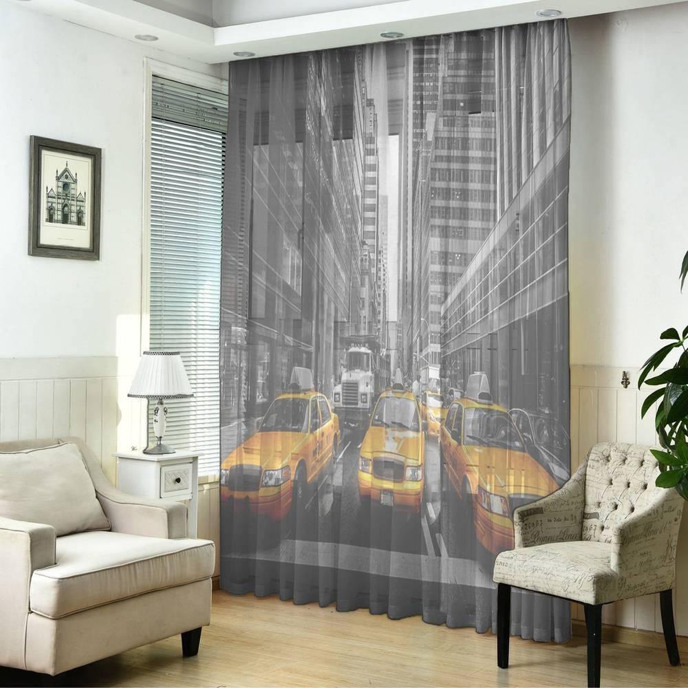 """3D Тюль """"Такси Нью-Йорка"""" вид 5"""