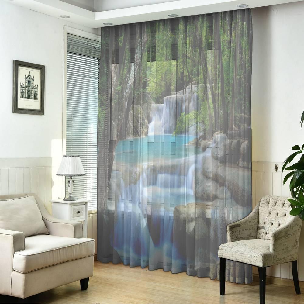 "3D фототюль ""Водопад в зеленом лесу"" вид 2"