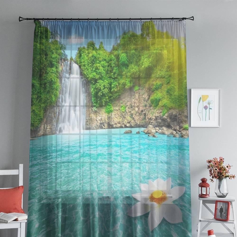 """3D Тюль на окна """"Водопад с кувшинкой"""" вид 5"""
