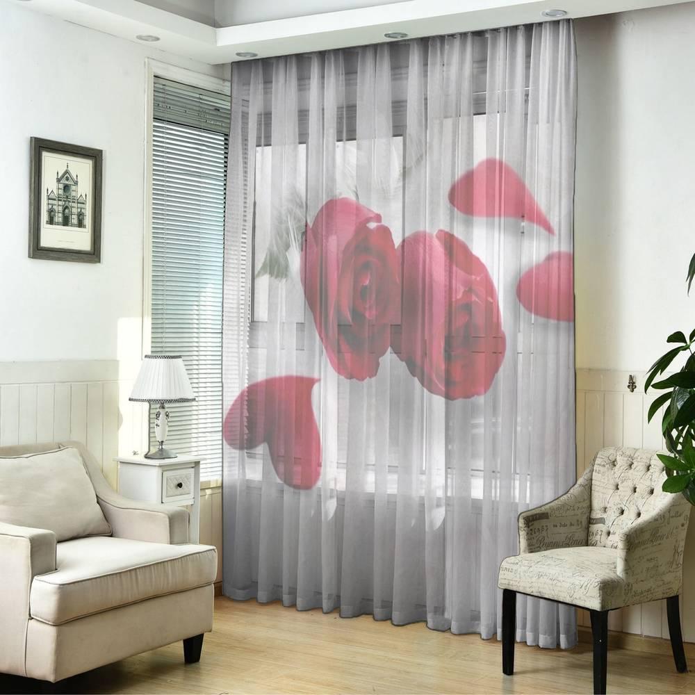 """3D Тюль """"Красные розы в перьях"""" вид 2"""