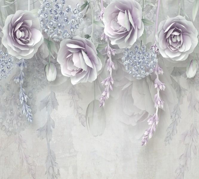 """Оконный 3D тюль """"Розы в легком ультрафиолете"""" вид 2"""