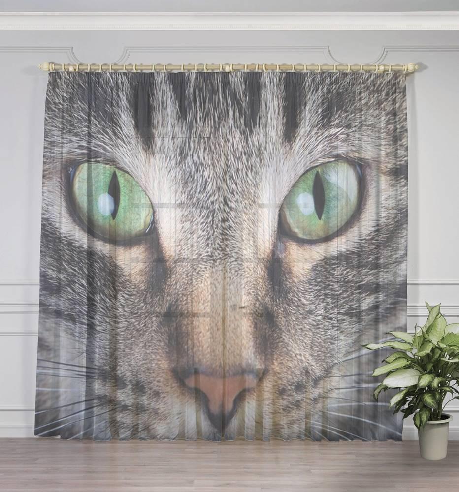 """3D Тюль на окна """"Кошачий взгляд"""" вид 3"""