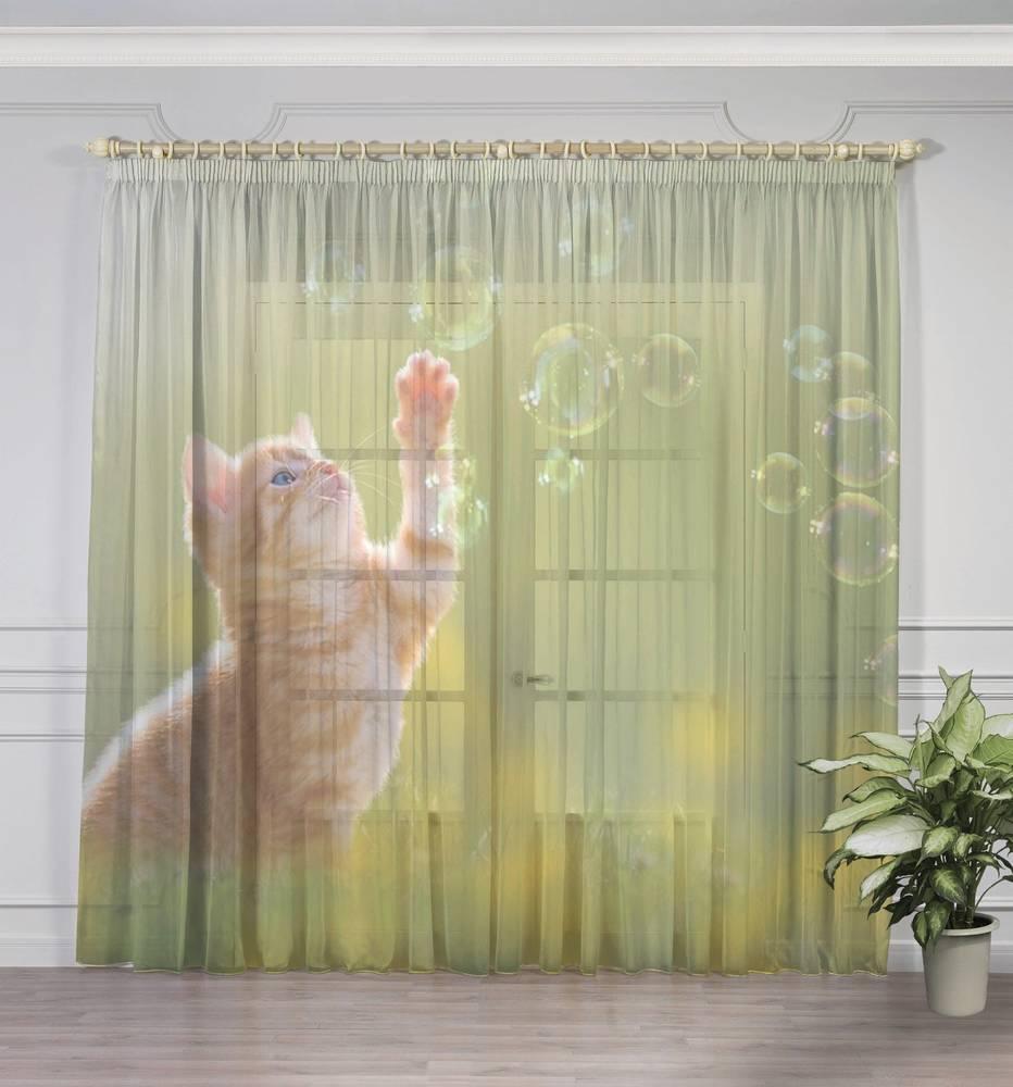 """Фототюль с печатью изображения """"Рыжий кот с мыльными пузырями"""" вид 3"""