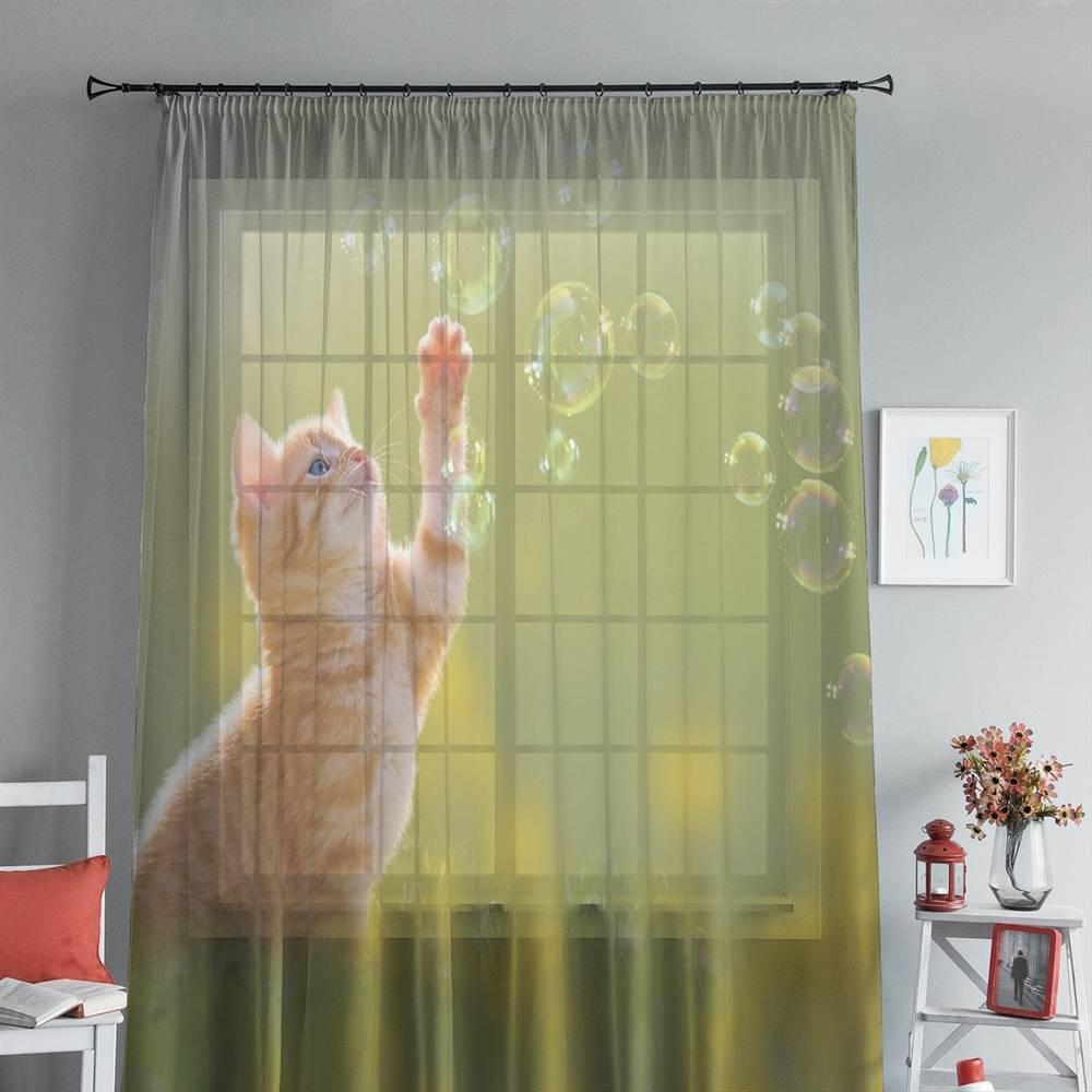 """Фототюль с печатью изображения """"Рыжий кот с мыльными пузырями"""" вид 4"""