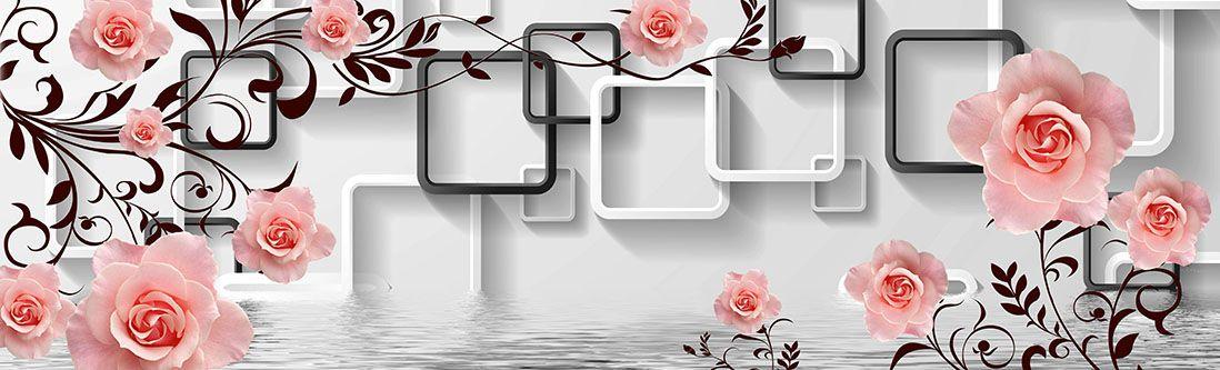 Модульная картина «Светлые розы над водой»