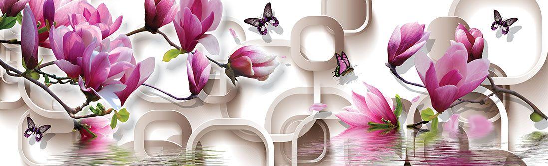 Модульная картина «Сиренево-розовые цветы над водой»
