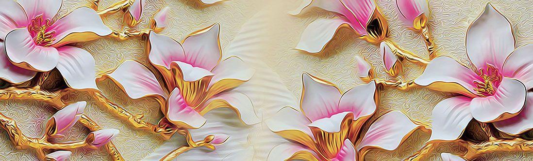 Модульная картина «Розовые цветы с золотым тиснением»