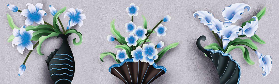 Модульная картина «Голубые цветы»