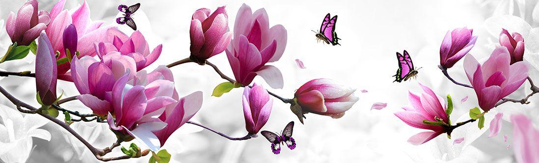 Модульная картина «Розовые цветы с бабочками»
