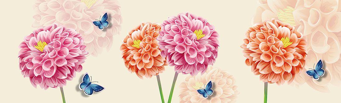 Модульная картина «Композиция с пионами и бабочками»