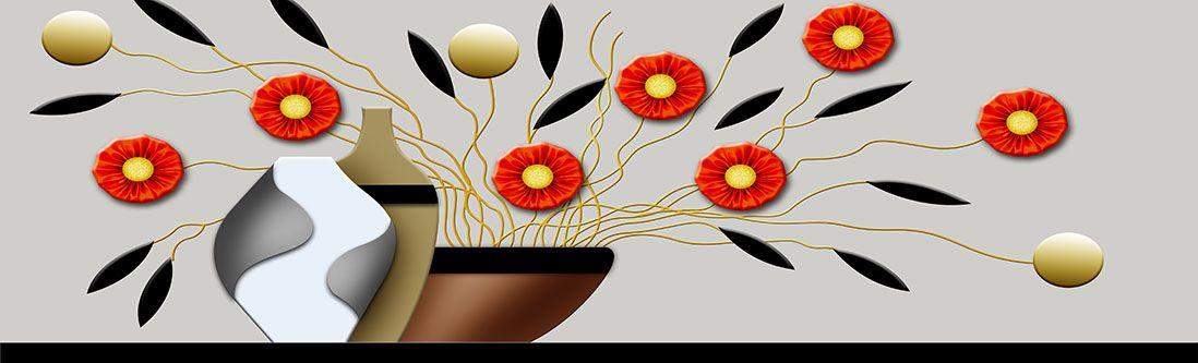 Модульная картина «Цветы и вазы в стиле модерн»