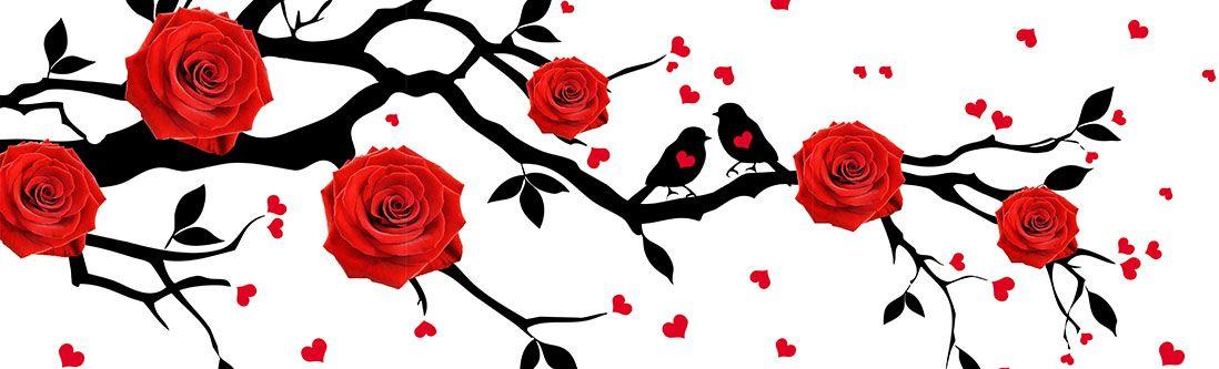 Модульная картина «Красные розы на ветке дерева с птицами»