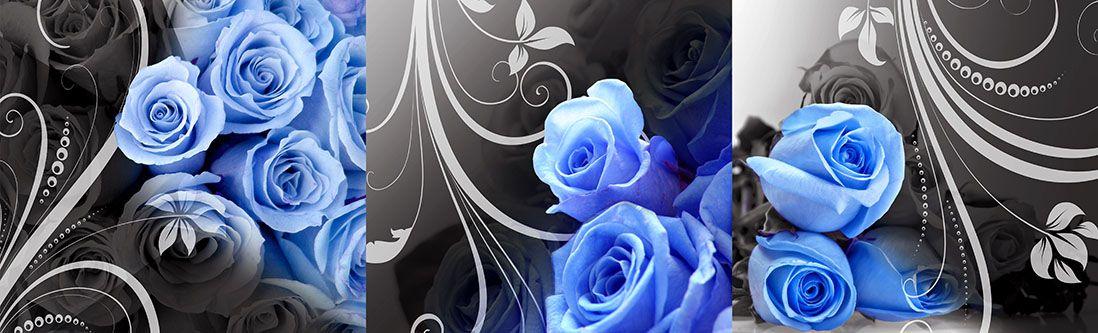 Модульная картина «Синие розы на темно-сером фоне»