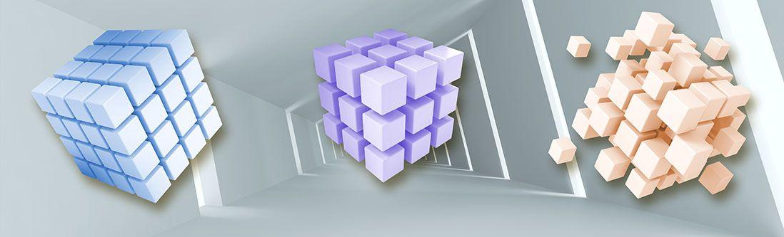 Модульная картина «Летящие кубы»
