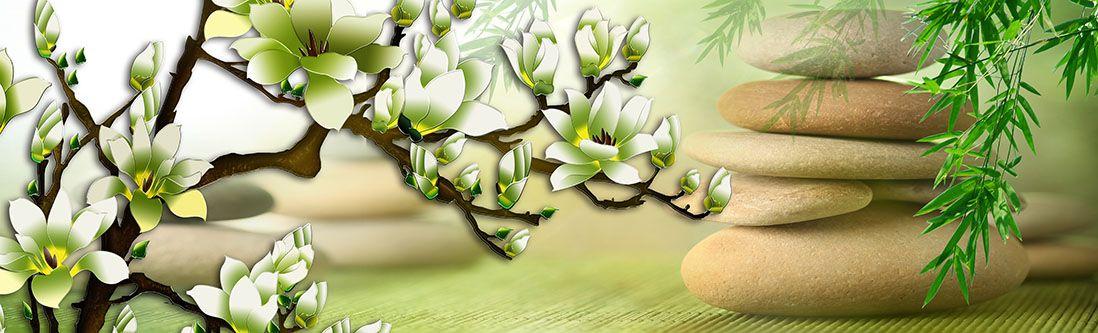 Модульная картина «Цветущее дерево с камнями»