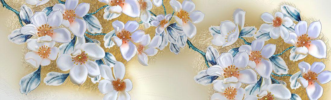 Модульная картина «Ромашковая ветка»
