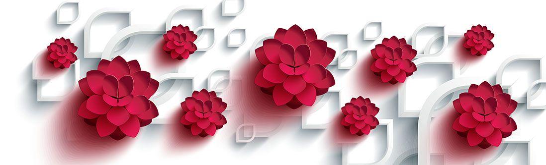 Модульная картина «Объемные красные цветы»