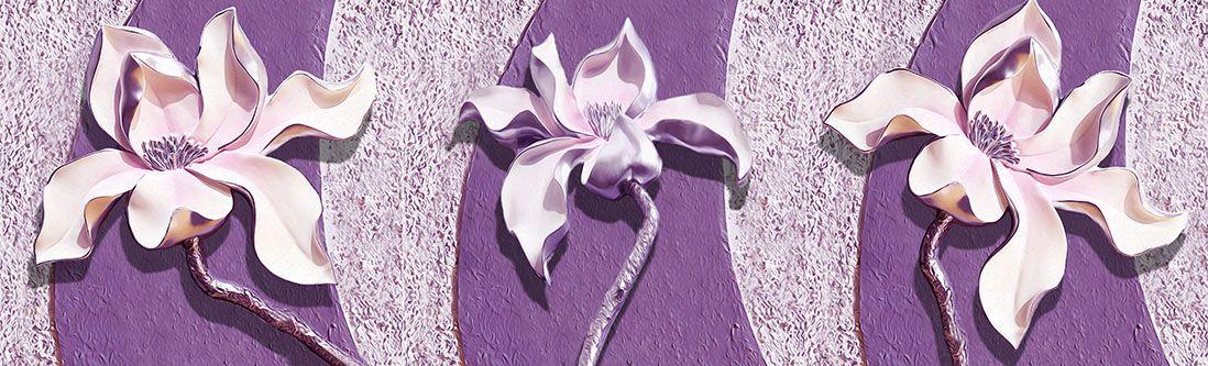 Модульная картина «Фиолетовые магнолии на рельефном фоне»