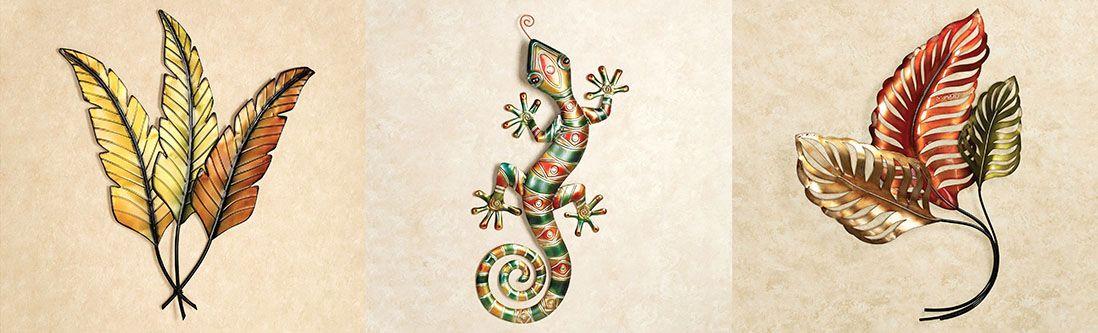 Модульная картина «Ящерица в листьях»