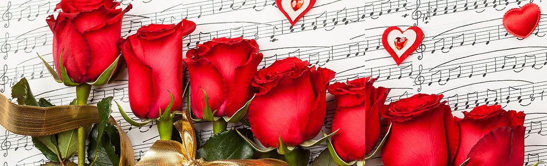 Модульная картина «Розы на нотах»
