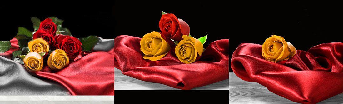 Модульная картина «Розы на красном шелке»