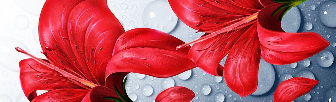 Модульная картина «Крупная красная лилия с каплями воды»