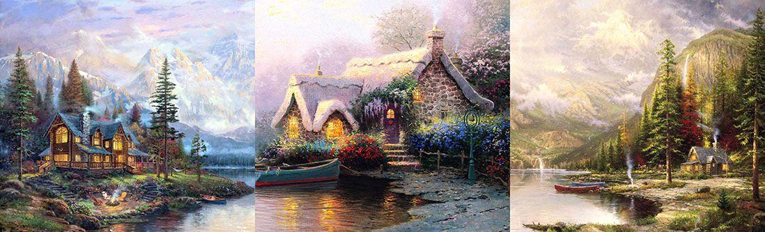 Модульная картина «Домики на побережье»