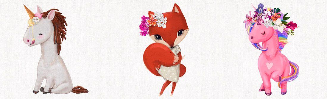 Модульная картина «Лисица и единорожки»
