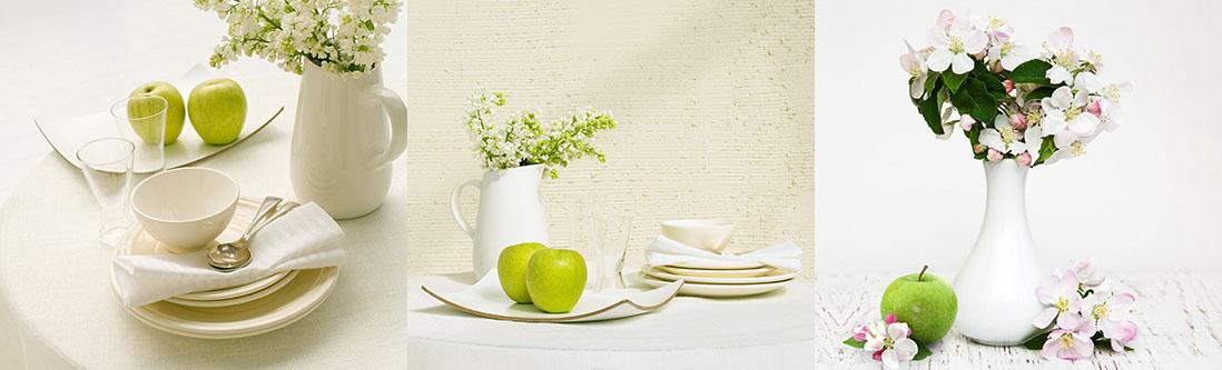 Модульная картина «Кувшин с цветами и яблоками»