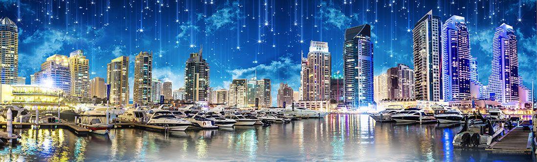 Модульная картина «Звездопад над городом»