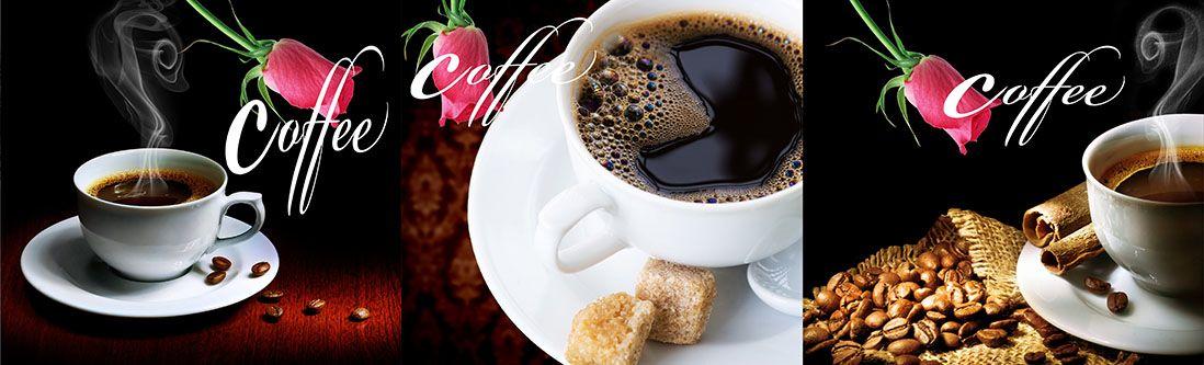 Модульная картина «Черный кофе с алой розой»