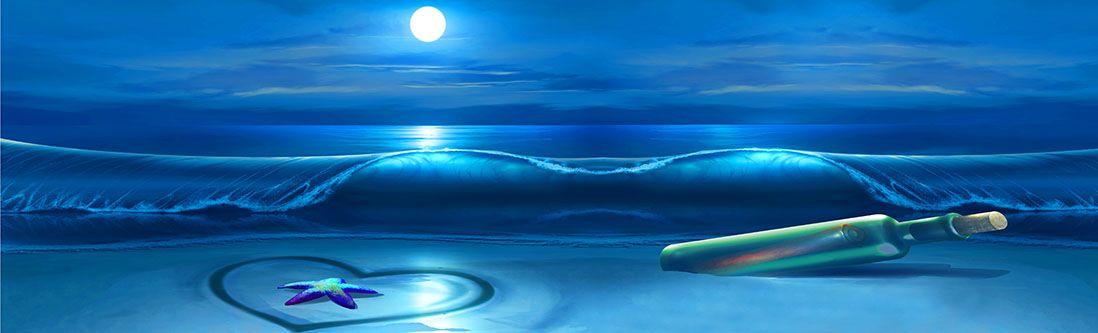 Модульная картина «Бутылка с письмом на берегу»