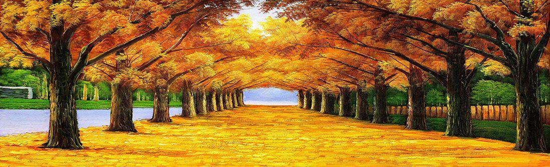 Модульная картина «Аллея из опавших листьев»