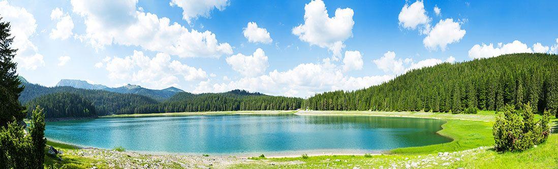 Модульная картина «Озеро среди лесов»