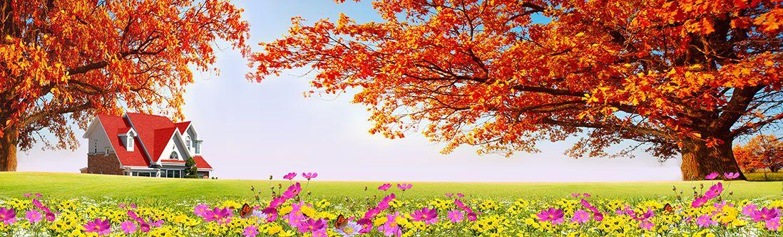Модульная картина «Поместье в поле осенью»